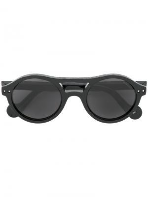 Солнцезащитные очки в круглой оправе Moncler Eyewear. Цвет: чёрный