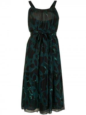 Шелковое платье с абстрактным принтом Burberry Pre-Owned. Цвет: зеленый