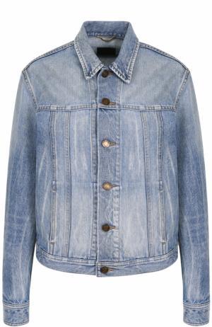Джинсовая куртка с потертостями и принтом на спинке Saint Laurent. Цвет: синий