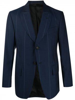 Однобортный пиджак в полоску LANVIN. Цвет: синий