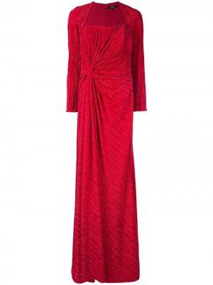 Плиссированное платье с драпировкой Badgley Mischka. Цвет: красный