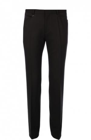 Классические шерстяные брюки зауженного кроя HUGO. Цвет: черный