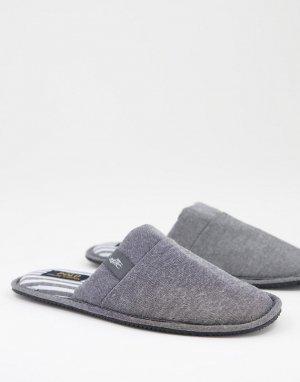 Серые слиперы-мюли -Серый Polo Ralph Lauren