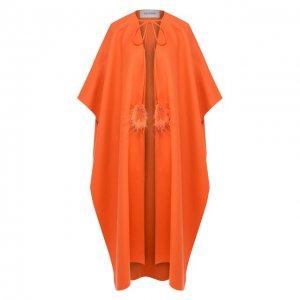 Шерстяное пончо Valentino. Цвет: оранжевый