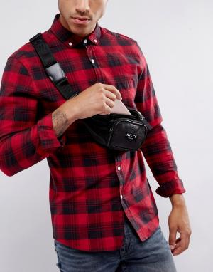 Черная сумка-кошелек на пояс из искусственной кожи Nicce London. Цвет: черный