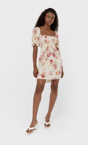 Короткое Платье Цвет Небеленого Полотна S Stradivarius. Цвет: цвет небеленого полотна