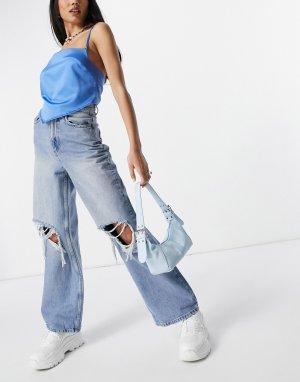 Яркие свободные джинсы в винтажном стиле с завышенной талией и рваной отделкой -Голубой ASOS DESIGN