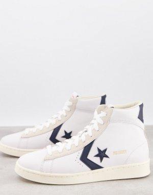 Белые кожаные высокие кроссовки с обсидиановыми вставками Pro-Белый Converse