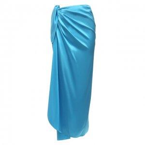 Шелковая юбка Balenciaga. Цвет: синий