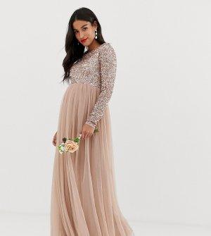 Декорированное пайетками платье макси с длинными рукавами и юбкой из тюля Bridesmaid-Коричневый Maya Maternity