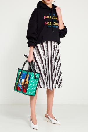 Кожаная сумка с принтом Bazar Paris S Balenciaga. Цвет: multicolor