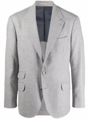 Однобортный пиджак строгого кроя Brunello Cucinelli. Цвет: серый