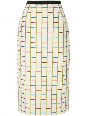 Трикотажная юбка-карандаш с сетчатым узором Antonio Marras. Цвет: бежевый