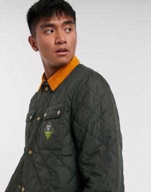 Стеганая куртка с контрастным вельветовым воротником -Зеленый Barbour Beacon