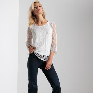 Пуловер-туника из двух материалов ANNE WEYBURN. Цвет: темно-синий,экрю
