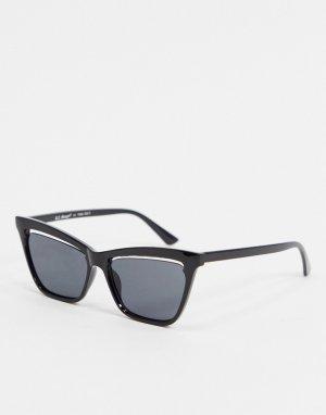 Черные солнцезащитные очки «кошачий глаз» со стеклами с вырезом -Черный AJ Morgan