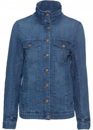 Куртка стретч джинсовая bonprix. Цвет: синий