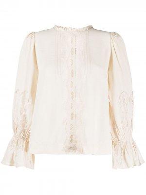 Блузка с кружевными вставками byTiMo. Цвет: нейтральные цвета