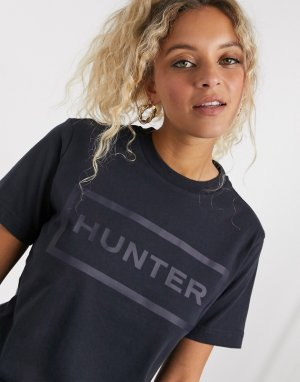 Черная футболка с тисненым логотипом Original-Темно-синий Hunter