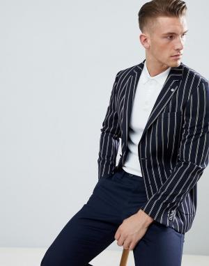 Темно-синий блейзер классического кроя в полоску Burton Menswear