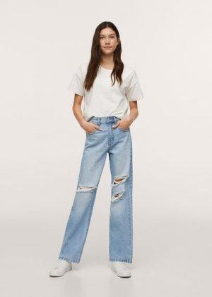 Нарочно рваные джинсы straight-fit - Straight Mango. Цвет: светло-синий