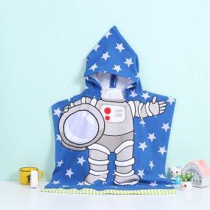 1шт детский банный халат с капюшоном и принтом SHEIN. Цвет: многоцветный