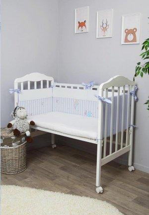 Бортик для детской кровати Сонный Гномик Серебряная нить. Цвет: голубой