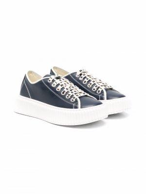 Lace-up leather sneakers Marni Kids. Цвет: синий