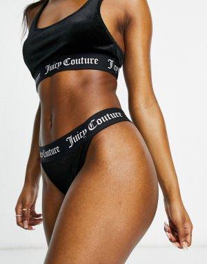 Бархатные трусы черного цвета (от комплекта)-Черный цвет Juicy Couture
