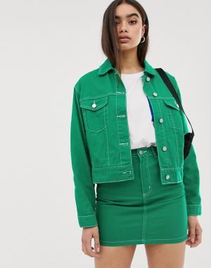 Комбинируемая джинсовая зеленая куртка -Зеленый Missguided