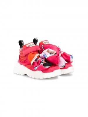 Кроссовки с декоративным платком Emilio Pucci Junior. Цвет: розовый