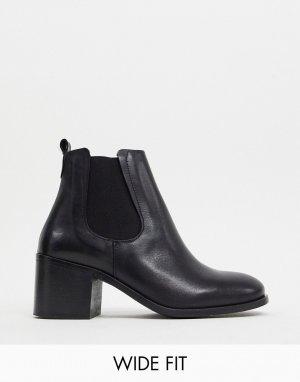 Кожаные ботинки челси на каблуке для широкой стопы Depp-Черный DEPP