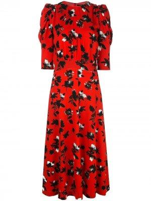 Платье миди с пышными рукавами и цветочным принтом Derek Lam. Цвет: красный