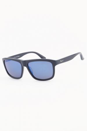 Очки солнцезащитные Salvatore Ferragamo. Цвет: синий