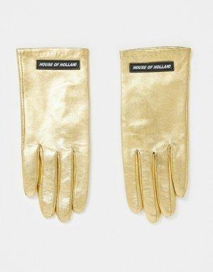 Золотые кожаные перчатки с логотипом -Коричневый цвет House of Holland