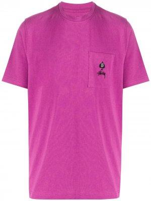 Embroidered logo T-shirt Stussy. Цвет: розовый