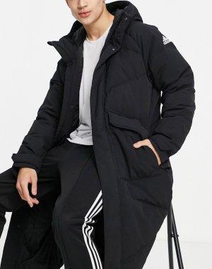 Черный удлиненный пуховик с карманами adidas Outdoor-Черный цвет performance