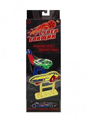 Набор игровой Abtoys Супергонщик, машина метал. без механизма, со сборным треком. Цвет: разноцветный