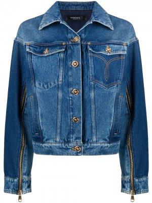 Джинсовая куртка с молниями Versace. Цвет: синий