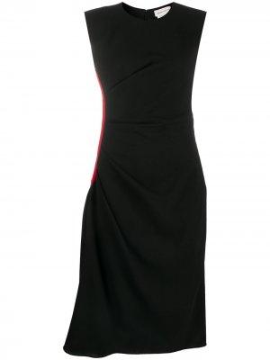Платье миди с контрастными полосками и короткими рукавами Alexander McQueen. Цвет: черный