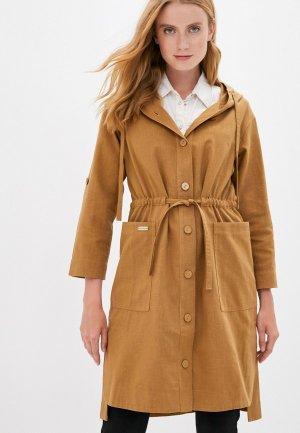 Пальто Dimma. Цвет: коричневый
