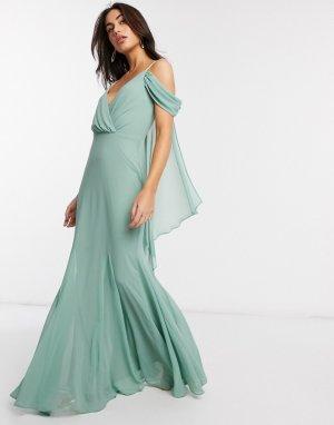 Платье макси мятного цвета с V-образным вырезом и открытыми плечами -Зеленый Goddiva
