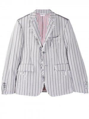 Жаккардовый пиджак в тонкую полоску Thom Browne. Цвет: 035 med grey