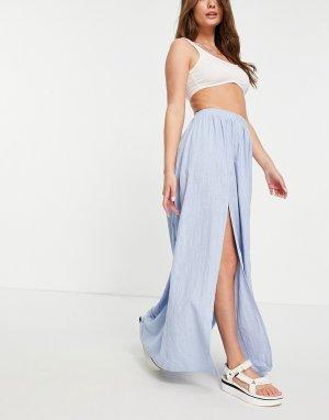 Голубая фактурная пляжная юбка макси с разрезами спереди -Голубой ASOS DESIGN