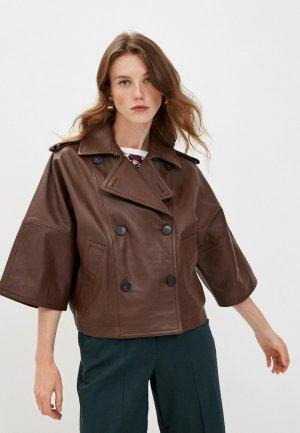 Куртка кожаная Weekend Max Mara VENETO. Цвет: коричневый