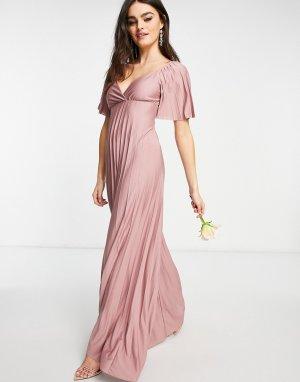 Розовое плиссированное платье макси с коротким рукавом и перекрученным дизайном на спине -Розовый цвет ASOS DESIGN