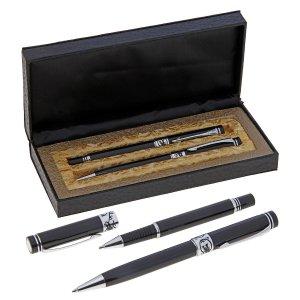 Ручки подарочные, 2 штуки: капиллярная, шариковая поворотная, в кожзам футляре, vip, чёрные Calligrata