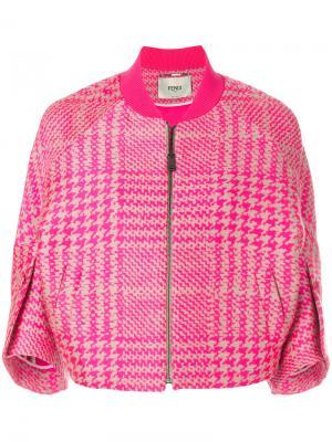Куртка-бомбер в клетку Fendi. Цвет: розовый и фиолетовый