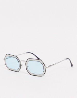 Серебристые солнцезащитные очки в оправе с углами и вырезом -Серебристый AJ Morgan
