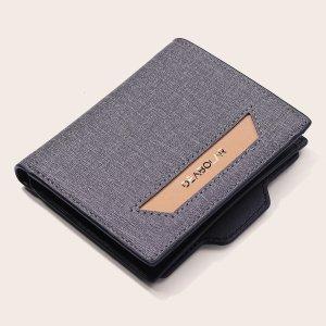 Мужской маленький кошелек с текстовым принтом SHEIN. Цвет: серый